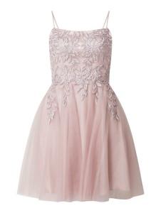 Różowa sukienka Luxuar z tiulu rozkloszowana