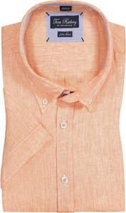 Pomarańczowa koszula Tom Rusborg z lnu z krótkim rękawem