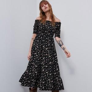 Sukienka Reserved z odkrytymi ramionami z długim rękawem