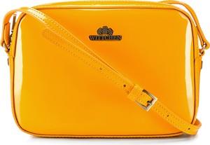 Żółta torebka Wittchen na ramię ze skóry lakierowana