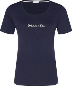 Niebieski t-shirt Max & Co. z krótkim rękawem z okrągłym dekoltem