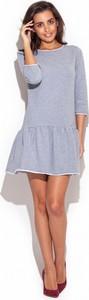 Niebieska sukienka Katrus prosta w stylu casual mini