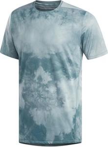 Niebieski t-shirt Adidas z tkaniny z krótkim rękawem