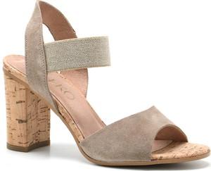 Brązowe sandały Ryłko na obcasie na średnim obcasie