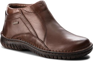 Brązowe buty zimowe Krisbut ze skóry w stylu casual