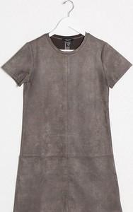 Sukienka New Look Petite z zamszu z krótkim rękawem