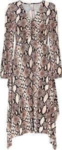 Sukienka bonprix z długim rękawem z dekoltem w kształcie litery v midi