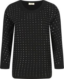 Czarna bluzka Liu-Jo z długim rękawem w stylu casual z okrągłym dekoltem