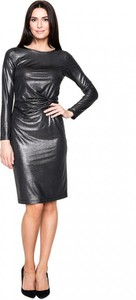 Czarna sukienka POTIS & VERSO midi dopasowana z okrągłym dekoltem