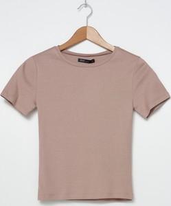 Fioletowy t-shirt House z bawełny z krótkim rękawem