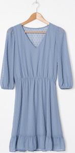 Niebieska sukienka House rozkloszowana z tkaniny mini