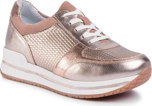 Złote buty sportowe Gino Rossi sznurowane z zamszu