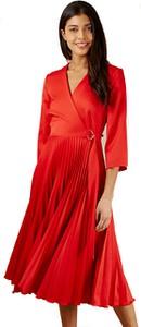 Czerwona sukienka Closet kopertowa midi z długim rękawem
