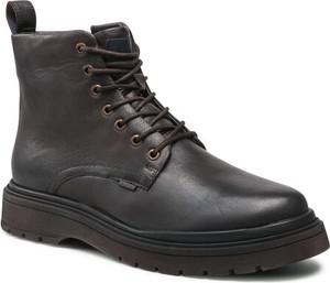 Brązowe buty zimowe Badura sznurowane w stylu casual