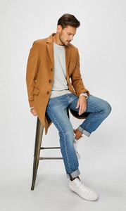 Brązowy płaszcz męski Tommy Hilfiger Tailored