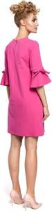Różowa sukienka MOE mini w stylu casual trapezowa