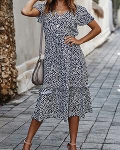 Sukienka Kendallme w stylu casual z dekoltem w kształcie litery v trapezowa