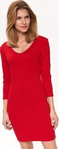 Czerwona sukienka Top Secret z długim rękawem