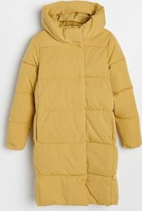 Żółty płaszcz Reserved w stylu casual z kapturem długi
