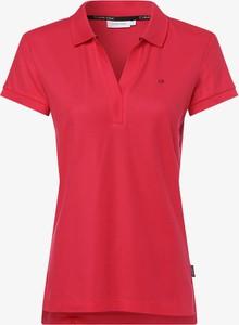 Czerwony t-shirt Calvin Klein z kołnierzykiem