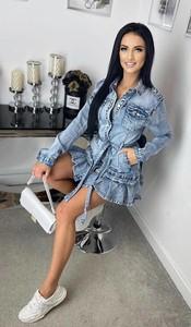 Sukienka lafemmeboutique.pl z długim rękawem z jeansu mini