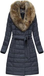Granatowy płaszcz Libland długa ze skóry ekologicznej w stylu casual