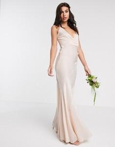 Złota sukienka Asos Design na ramiączkach