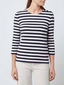 Granatowa bluzka Jake*s Collection z okrągłym dekoltem w stylu casual z bawełny