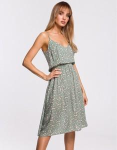 Zielona sukienka MOE z dekoltem w kształcie litery v