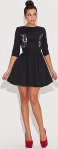 Czarna sukienka Katrus z długim rękawem z bawełny