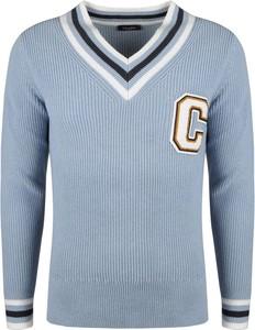 Niebieski sweter Calvin Klein z dzianiny