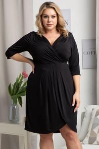 Czarna sukienka KARKO z długim rękawem z tkaniny
