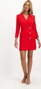 Czerwona sukienka Lavard w stylu casual z dekoltem w kształcie litery v z długim rękawem