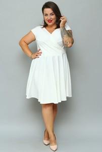 Sukienka KARKO z tkaniny trapezowa z krótkim rękawem