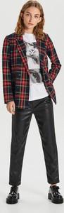 Czarne spodnie Cropp ze skóry w rockowym stylu