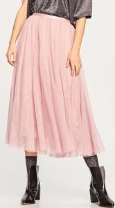 Różowa spódnica Reserved midi z tiulu