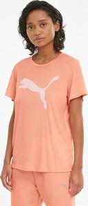 Pomarańczowy t-shirt Puma w sportowym stylu z bawełny
