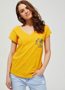 T-shirt Moodo z okrągłym dekoltem z bawełny z krótkim rękawem