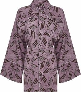 Różowa sukienka The Attico z bawełny gorsetowa z długim rękawem