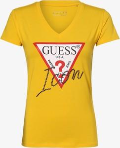 T-shirt Guess Jeans z krótkim rękawem z dekoltem w kształcie litery v