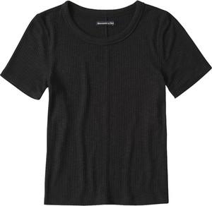 Czarna bluzka Abercrombie & Fitch z krótkim rękawem w stylu casual z okrągłym dekoltem