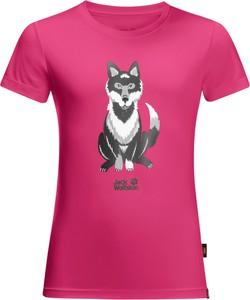 Różowa koszulka dziecięca Jack Wolfskin z dżerseju