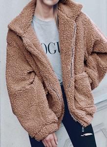 Długi rękaw ciepła rozpinana miś kożuszek kożuch jednolita kołnierz zimowa Nancy wielbłąd kurtka Cikelly (S)