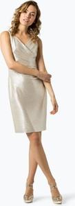 Złota sukienka Lauren Ralph Lauren mini z dekoltem w kształcie litery v w stylu glamour