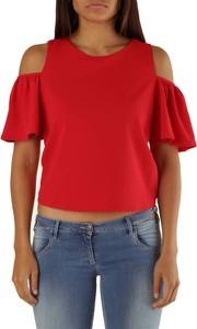 Czerwona bluzka Met z okrągłym dekoltem