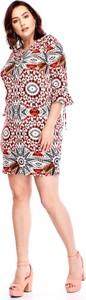 Sukienka Atena Collection z długim rękawem w stylu casual z okrągłym dekoltem