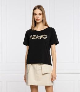 Czarny t-shirt Liu-Jo w młodzieżowym stylu z okrągłym dekoltem z krótkim rękawem