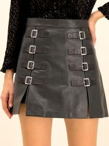 Spódnica The Kooples ze skóry w rockowym stylu