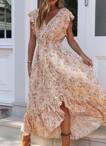 Sukienka Sandbella midi z dekoltem w kształcie litery v z krótkim rękawem