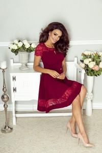 Sukienka Bergamo rozkloszowana midi z krótkim rękawem